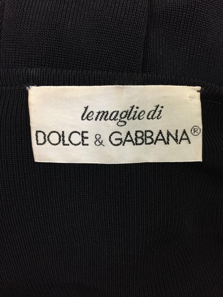 Vintage 1989 Dolce & Gabbana Sheer Black Knit L/S Off Shoulder Mini Dress In Good Condition For Sale In Yukon, OK