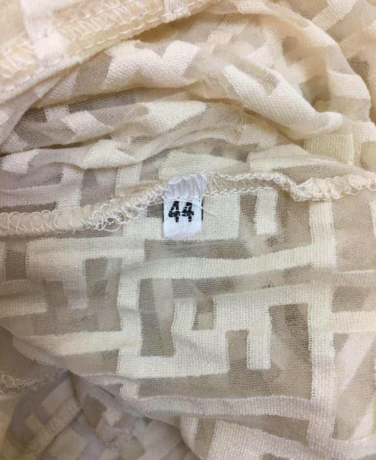 1990's Fendi Sheer Nude Nylon Monogram Logo Wiggle Dress 44 M In Good Condition For Sale In Yukon, OK