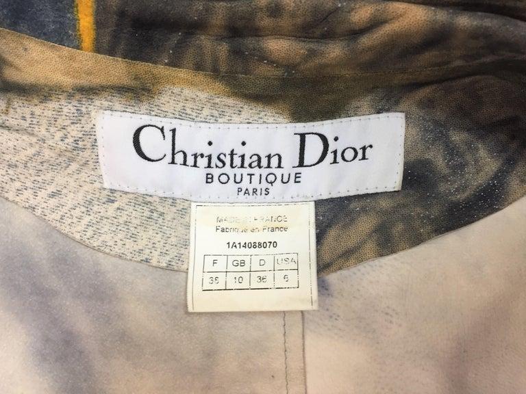 F/W 2001 Christian Dior John Galliano Diorella Print Velvet Suede Coat Jacket For Sale 1