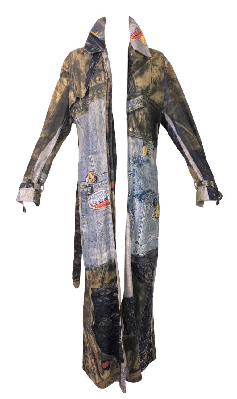 Black F/W 2001 Christian Dior John Galliano Diorella Print Velvet Suede Coat Jacket For Sale
