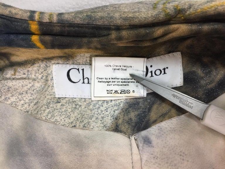F/W 2001 Christian Dior John Galliano Diorella Print Velvet Suede Coat Jacket For Sale 2