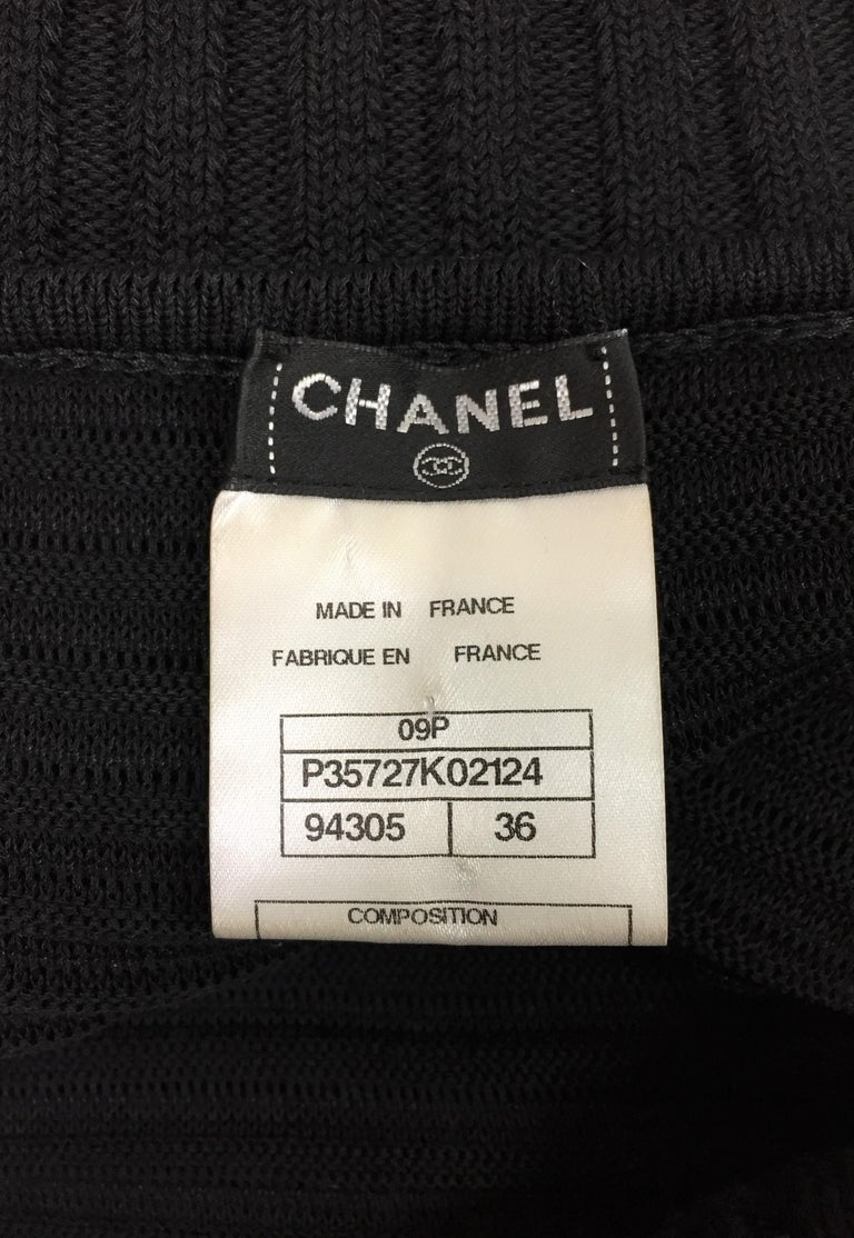 S/S 2009 Chanel Runway Semi-Sheer Black Ruched Wiggle Off Shoulder Dress In Excellent Condition For Sale In Yukon, OK