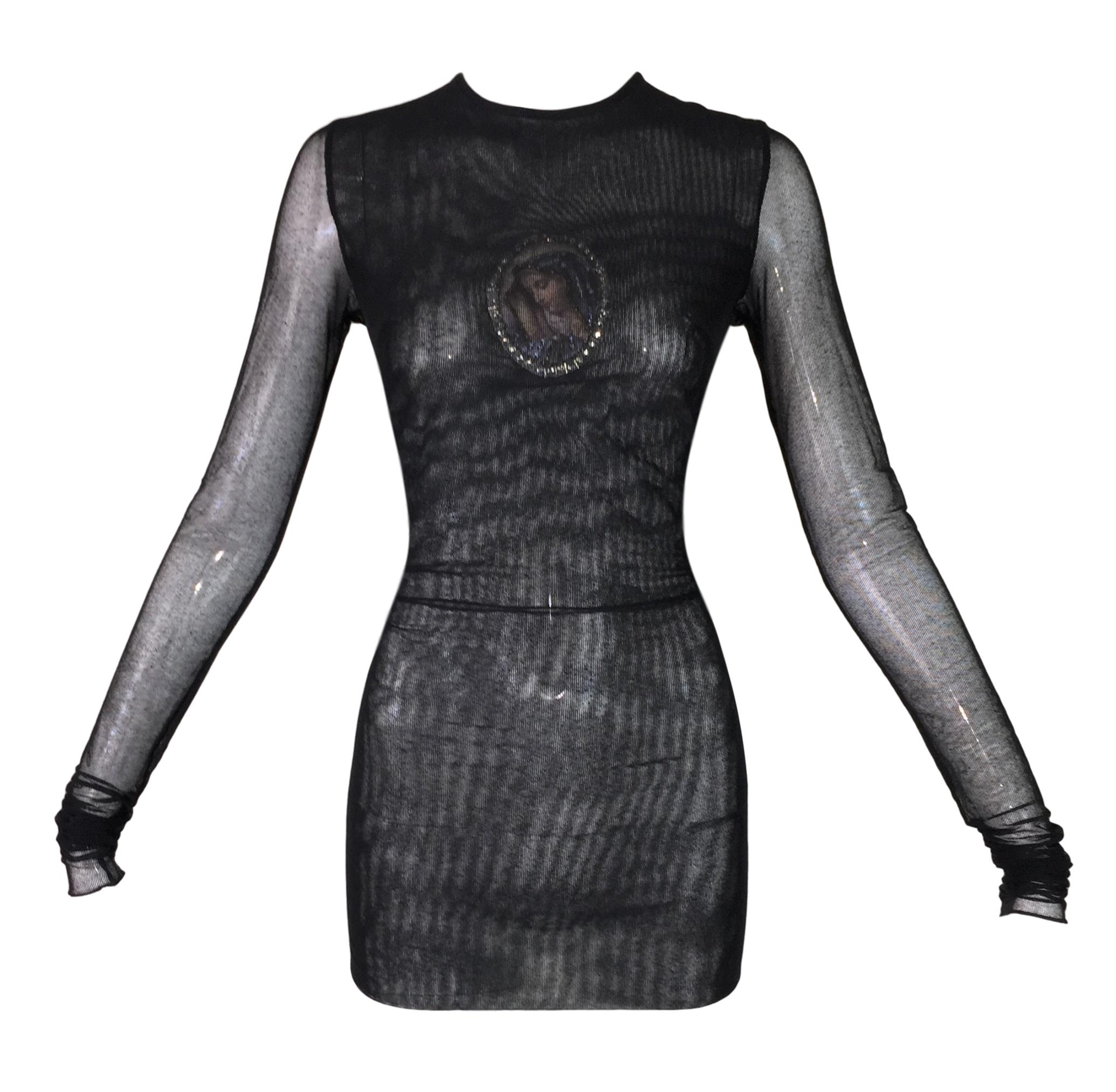 1998 Dolce & Gabbana Sheer Black Mesh Madonna Embellished L/S Tunic Top