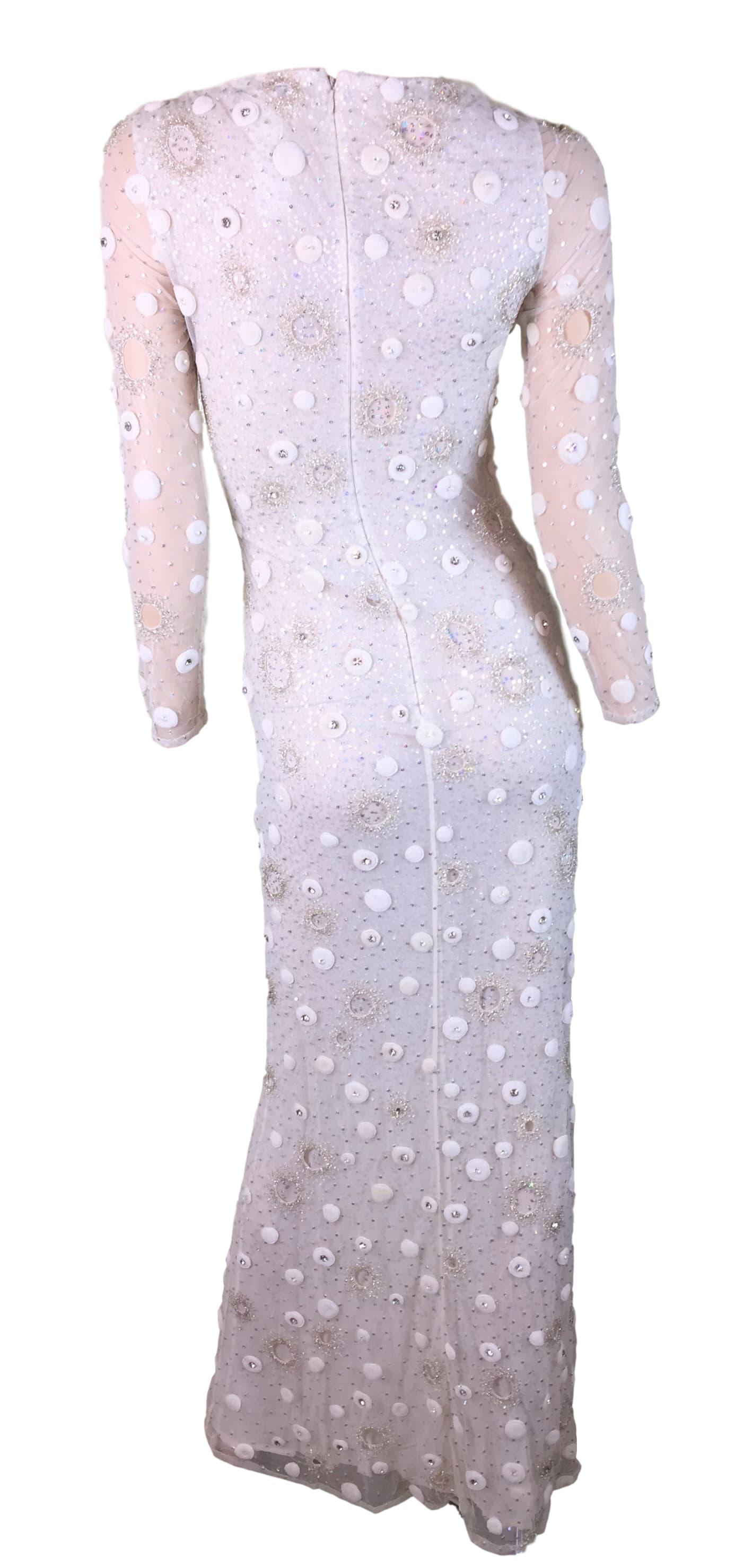 S/S 1999 Atelier Versace Sheer Ivory Silk Embellished Wedding Bridal ...