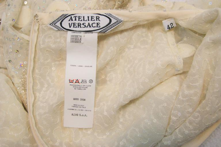 S/S 1995 Atelier Versace Gianni Ivory Silk Embellished Wedding Bridal Gown Dress 5