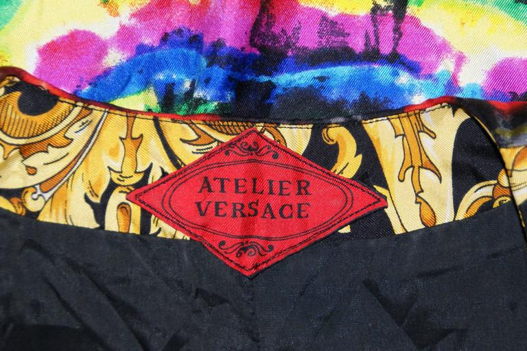 S/S 1991 Atelier Versace by Gianni Baroque Tie Dye Silk Jacket For Sale 1