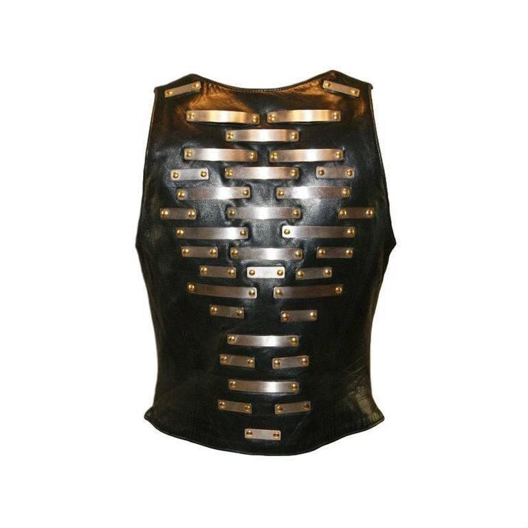 1990's Jean Claude Jitrois Black Leather Metal Plate Bustier Bra Vest Top XS/S 2