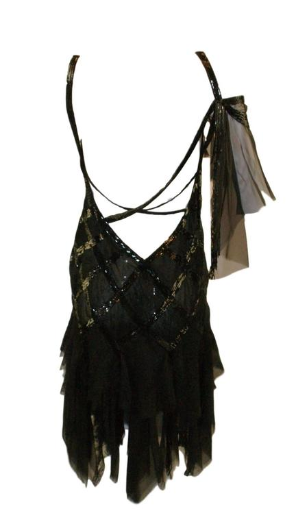 S/S 2003 Gianni Versace Couture Runway Black Silk Beaded 1920's Flapper Dress 40 5