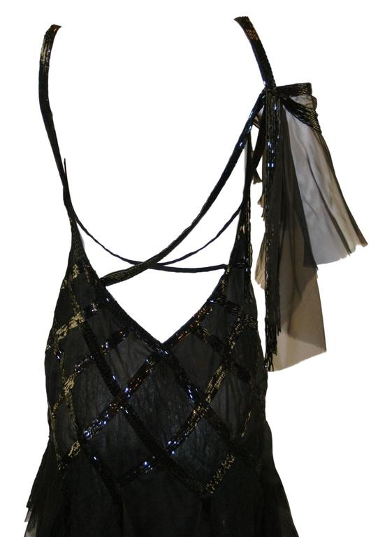 S/S 2003 Gianni Versace Couture Runway Black Silk Beaded 1920's Flapper Dress 40 6