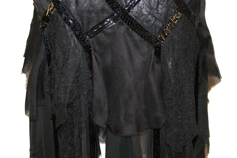 S/S 2003 Gianni Versace Couture Runway Black Silk Beaded 1920's Flapper Dress 40 4
