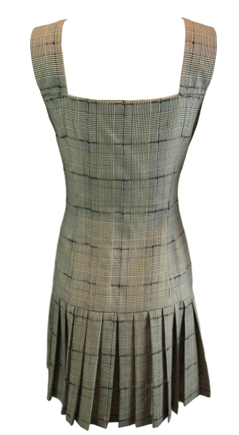 MET Museum Retrospective S/S 1994 Gianni Versace Couture Plaid Pinafore Dress 38 2