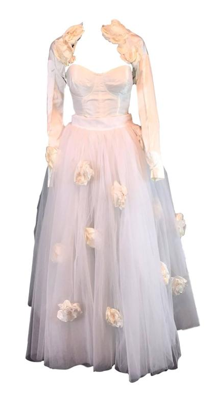 Brown S/S 1992 Dolce & Gabbana Bridal Wedding Gown Bustier Tulle Skirt Shrug Ensemble For Sale