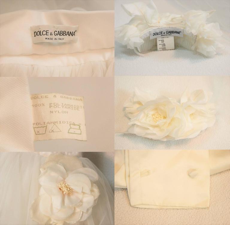 S/S 1992 Dolce & Gabbana Bridal Wedding Gown Bustier Tulle Skirt Shrug Ensemble For Sale 2