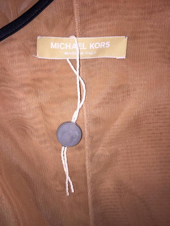 Brown With Tags Michael Kors Nude Sheer Mesh One Shoulder Pencil Dress 4 For Sale