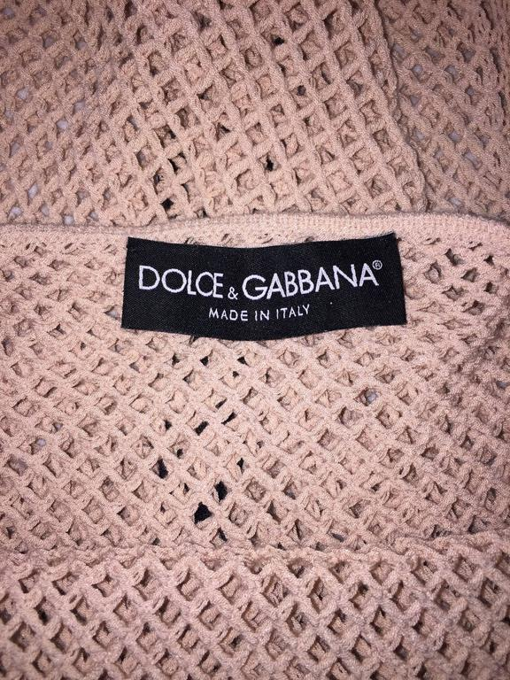 Brown Dolce & Gabbana Nude Fishnet Plunging Tank Top XS/S, S/S 2001  For Sale
