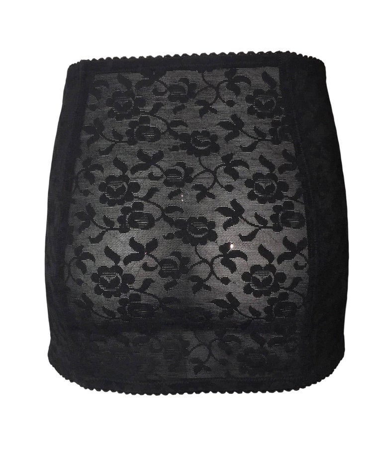 Black S/S 1998 Dolce & Gabbana Sheer Lace Corset Lace-up Mini Skirt For Sale