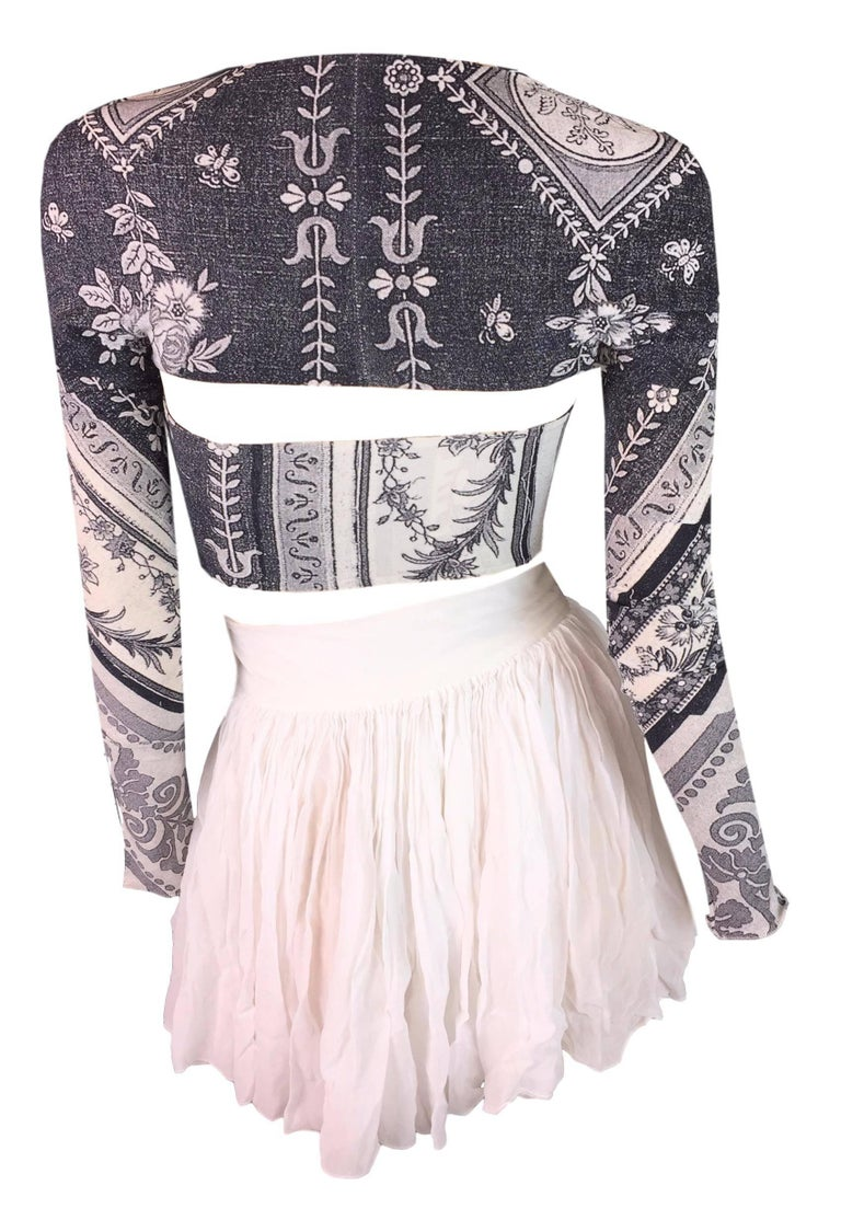 Dolce and Gabbana Sheer White Skater Skirt and Cropped ...
