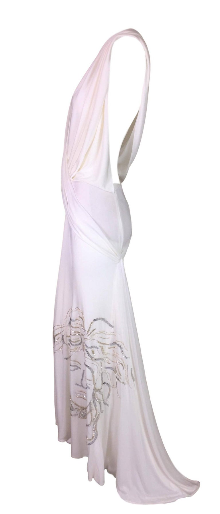 F/W 1999 Atelier Versace Sheer White Plunging Beaded Medusa Gown ...