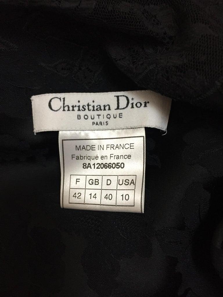 Women's F/W 1998 Christian Dior John Galliano Sheer Lace Black Plunging Long Slip Dress For Sale