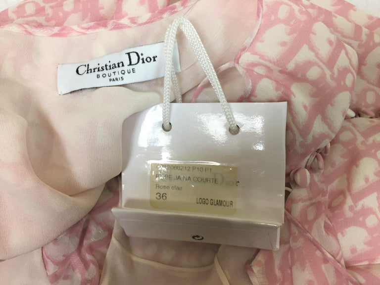 NWT S/S 2004 Christian Dior John Galliano Pink Monogram Logo Silk Tie Dress In New Condition In Yukon, OK