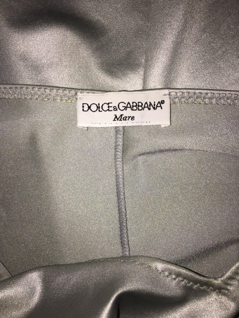 1990's Dolce & Gabbana Liquid Silver Chain Strap Slinky Slip Dress In Good Condition For Sale In Yukon, OK