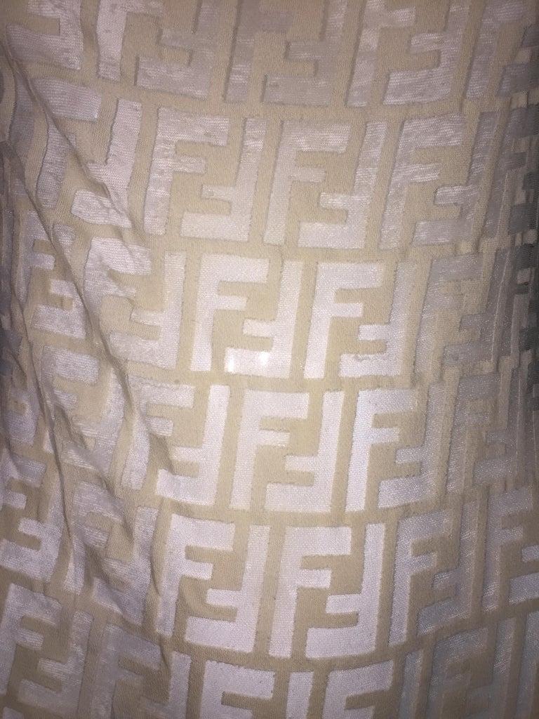Women's 1990's Fendi Sheer Nude Nylon Monogram Logo Wiggle Dress 44 M For Sale