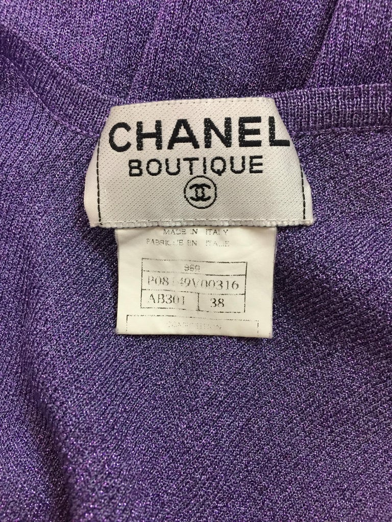 S/S 1996 Chanel Metallic Purple Knit Deep V Wiggle Dress In Excellent Condition For Sale In Yukon, OK