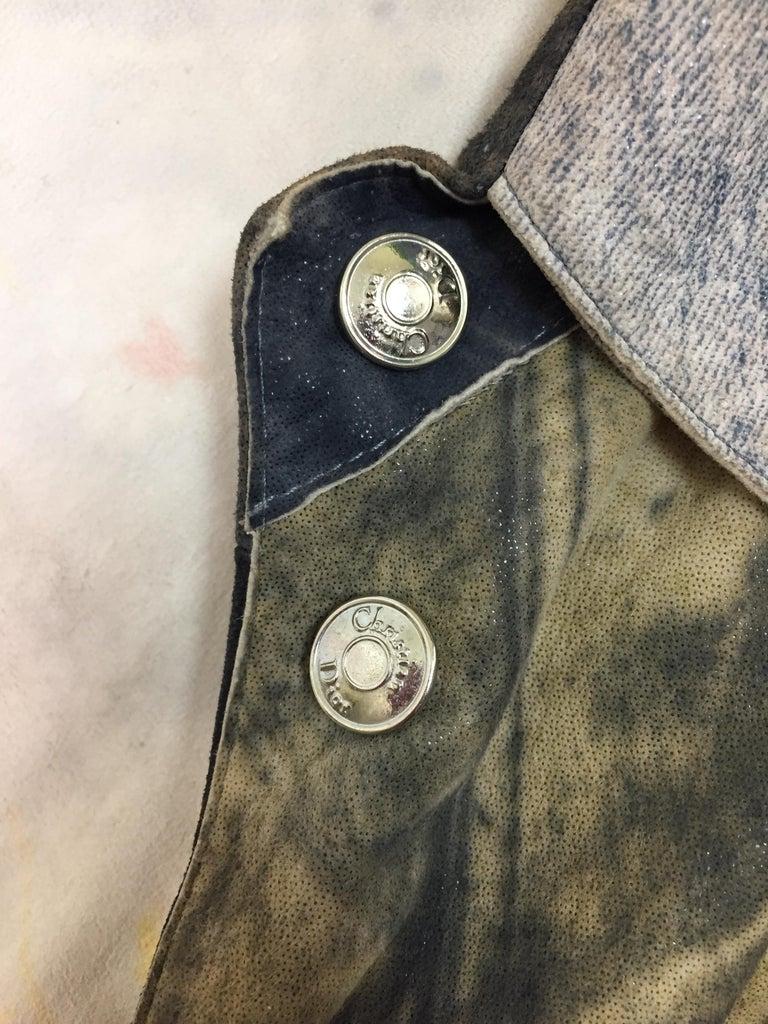 F/W 2001 Christian Dior John Galliano Diorella Print Velvet Suede Coat Jacket For Sale 3