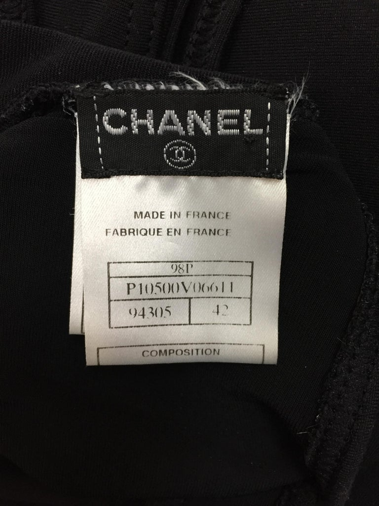 S/S 1998 Chanel Black Cut-Out Bodycon Pin-Up Wiggle Dress In Good Condition For Sale In Yukon, OK