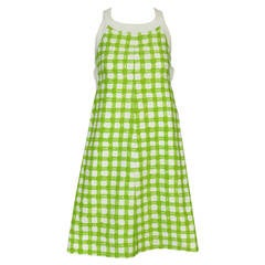 1960s Courrèges Green + White Plaid Snap-Side Dress