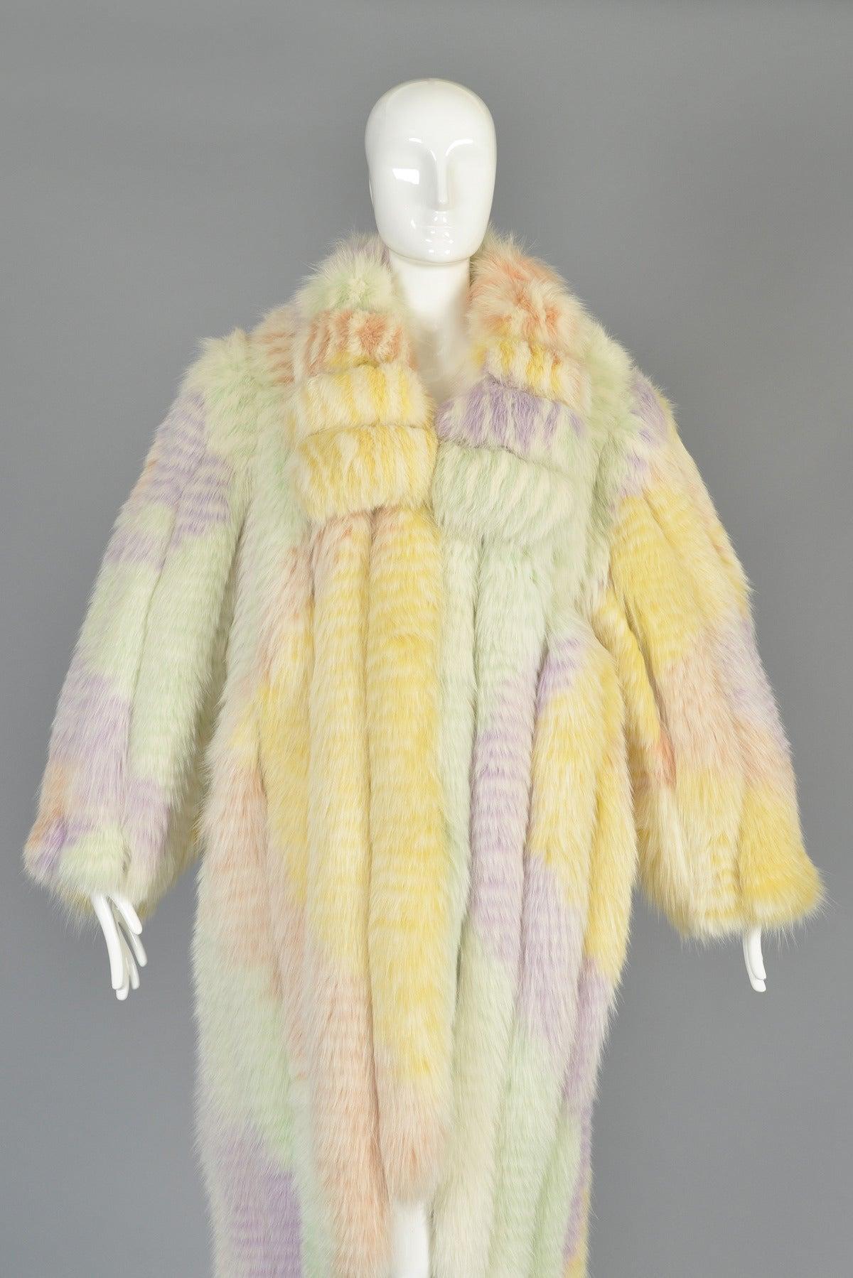 Spectacular 1980s Hi Lo Feathered Rainbow Fox Fur Coat At