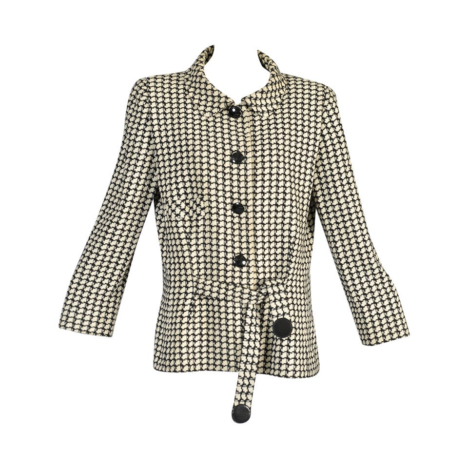F w 1993 pierre cardin haute couture houndstooth jacket for Haute couture jacket