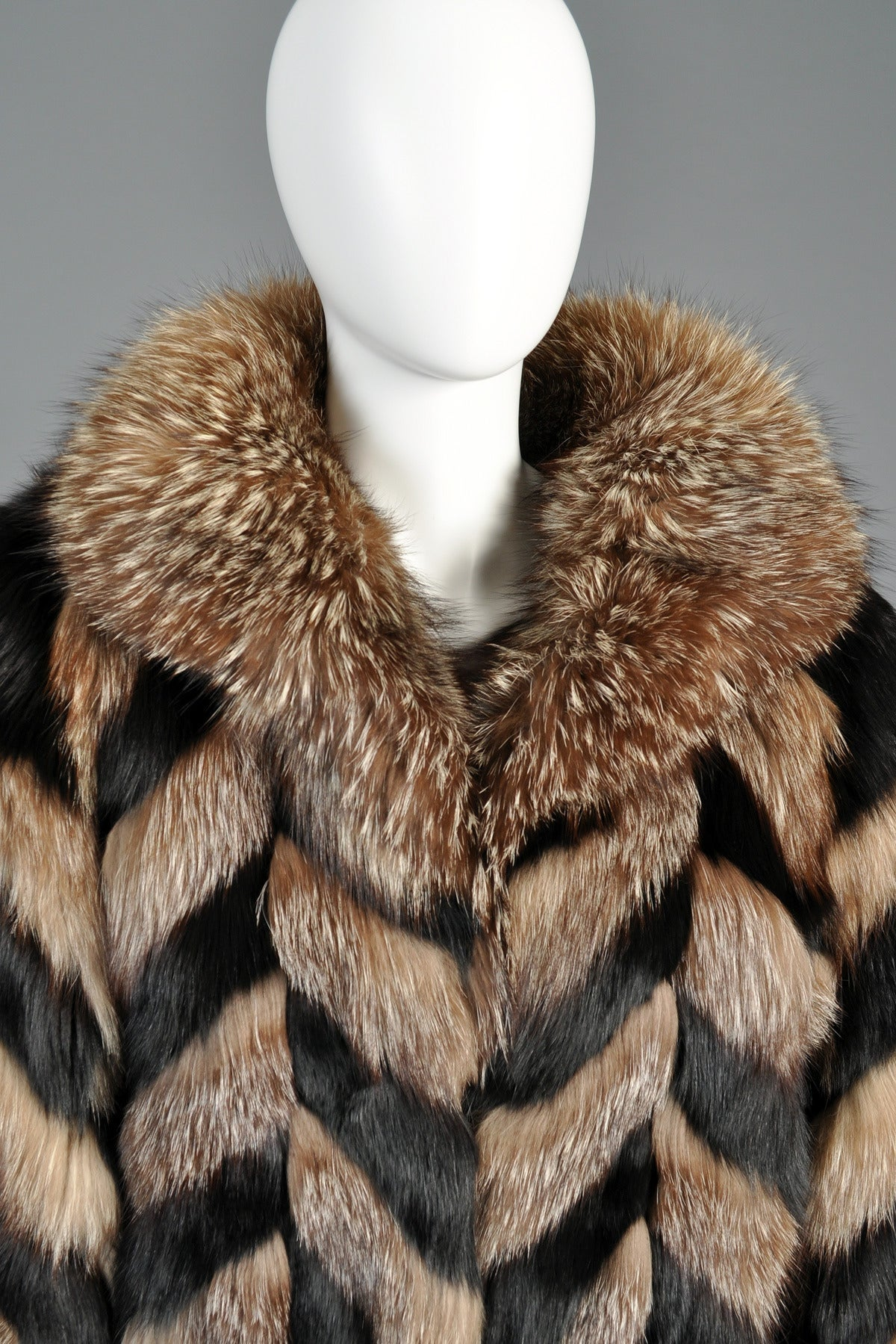 Christian Dior Full Length Chevron Fox Fur Coat At 1stdibs