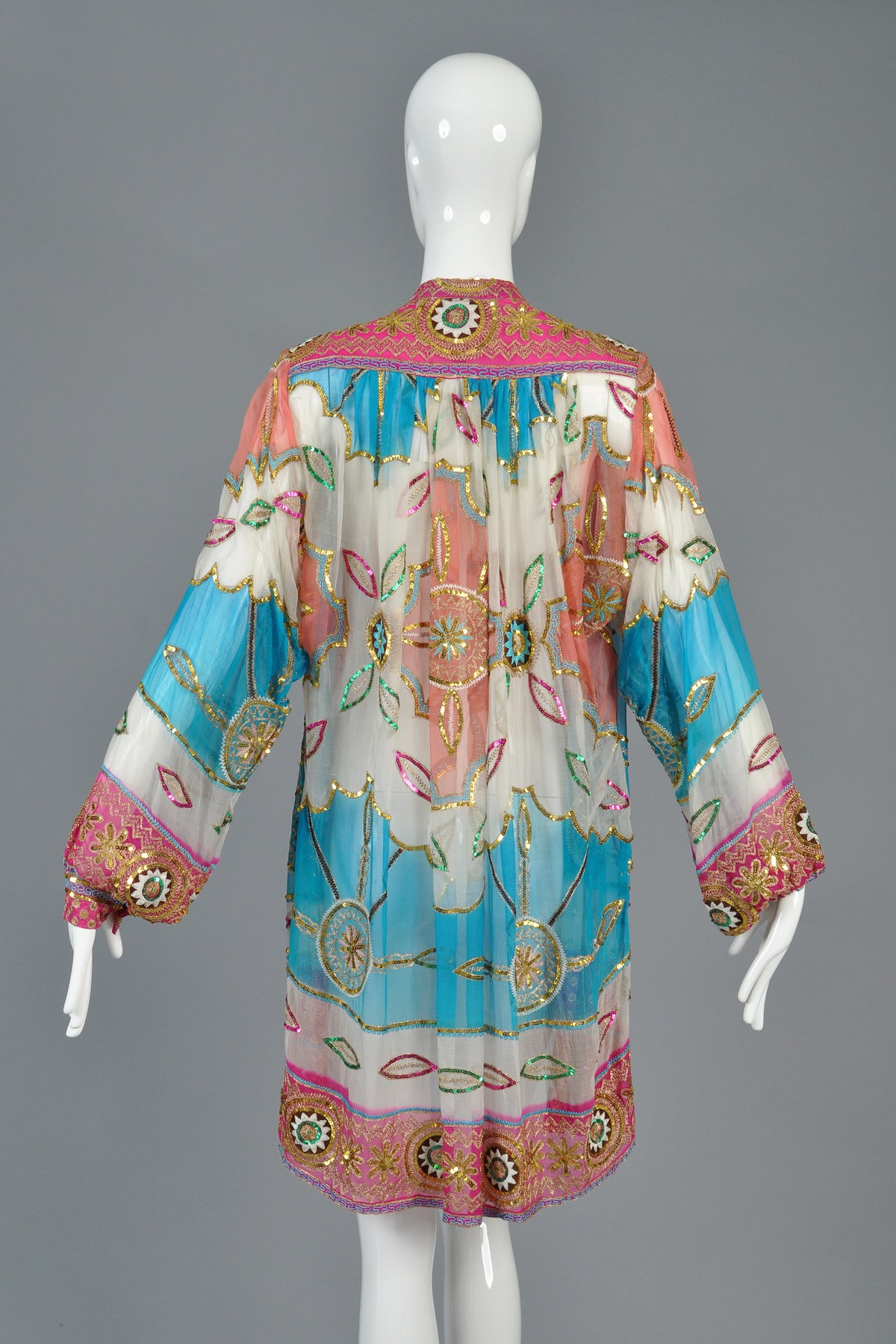 Embroidered sheer silk sequin ethnic jacket at stdibs