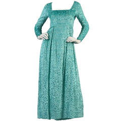 Richilene Burnout Velvet Metallic Aqua Gown
