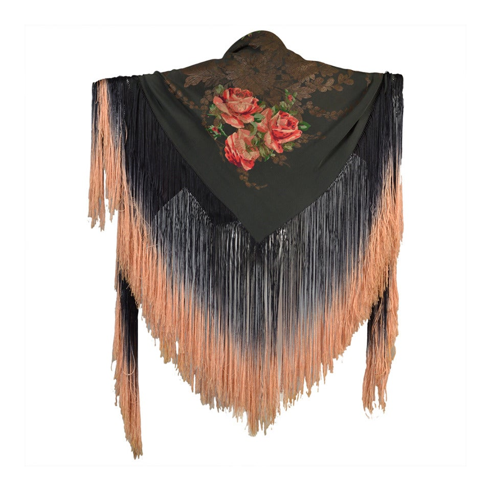 1920s Silk Lam 233 Floral Piano Shawl With Fringe At 1stdibs