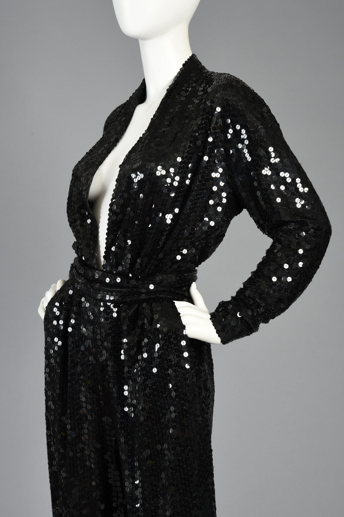 Darling Black Sequin Jumpsuit With Plunging Neckline At