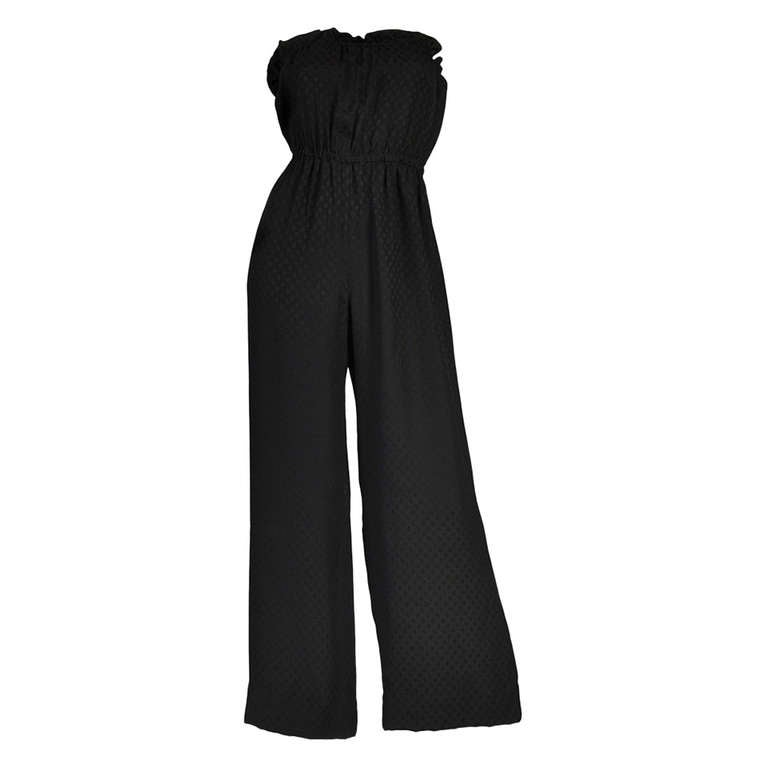 Givenchy 1970s Strapless Wide Legged Silk Jumpsuit At 1stdibs