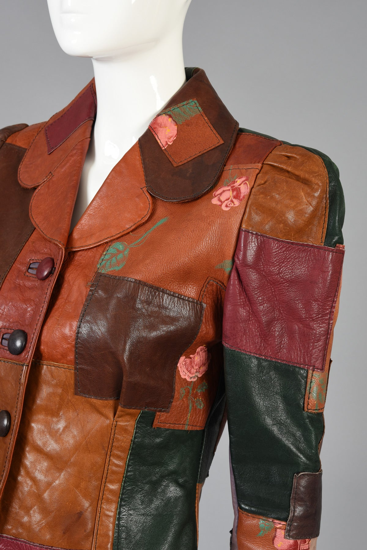 Gandalf The Wizard Floral Patchwork Leather Jacket Image 7