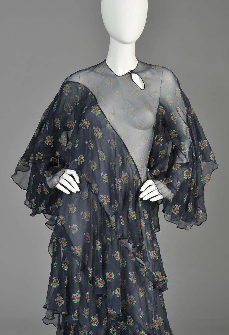 Ossie Clark 1970 Ziggy Stardust Dress W Celia Birtwell Silk Florals At 1stdibs