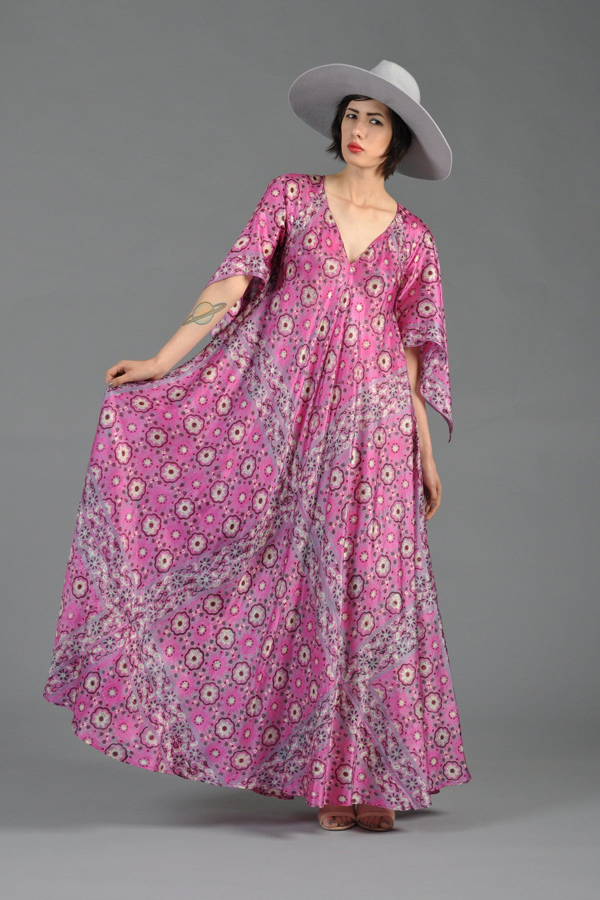 1970s 100 Silk Indian Maxi Dress With Angel Sleeves At