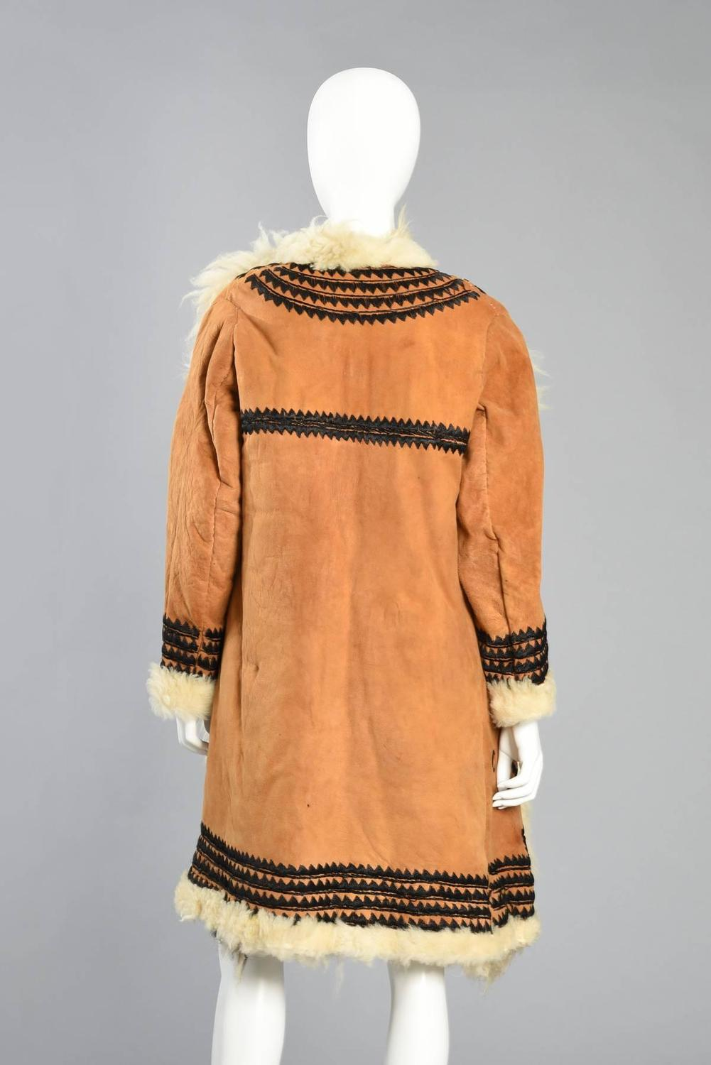 Incredible 1970s Embroidered Shearling + Suede Coat at 1stdibs