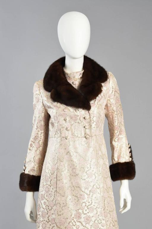 Pale pink brocade dres and coat with mink fur trim at 1stdibs