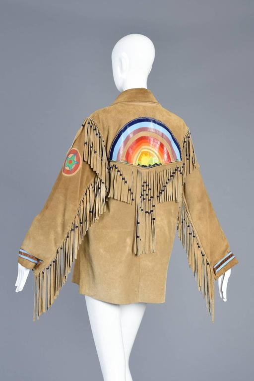 one of a kind 1960s hand painted rainbow suede jacket with fringe at 1stdibs