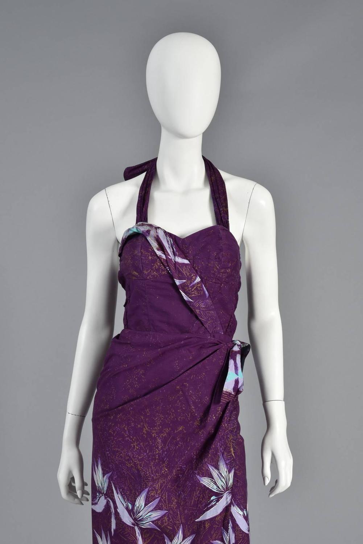 1950s hawaiian cotton sarong dress from hand printed shaheen fabric at