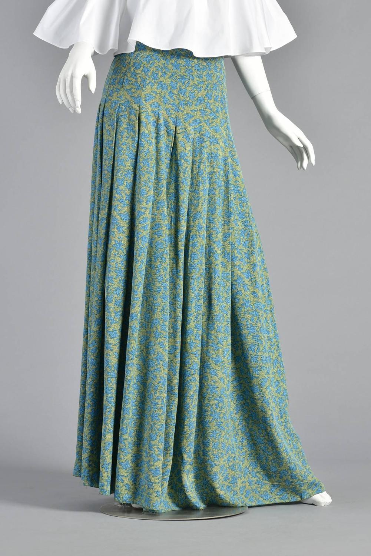jean patou 1960s high waist silk floral maxi skirt at 1stdibs
