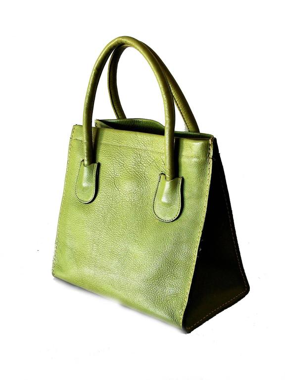 5af722034f5e Bonnie Cashin for Coach Mod Lime Leather Dinky Tote Bag 1960s NYC In  Excellent Condition For