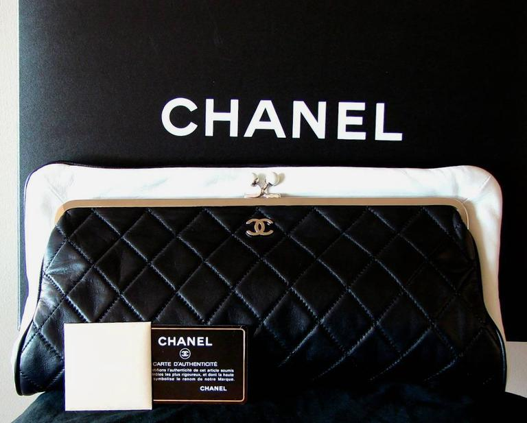307fd50b2cf5 Chanel Black Lambskin Matelassé Clutch White Trim + Chain Coin Purse 2009 +  Box For Sale. This incredible matelassé envelope clutch bag was designed by  Karl ...