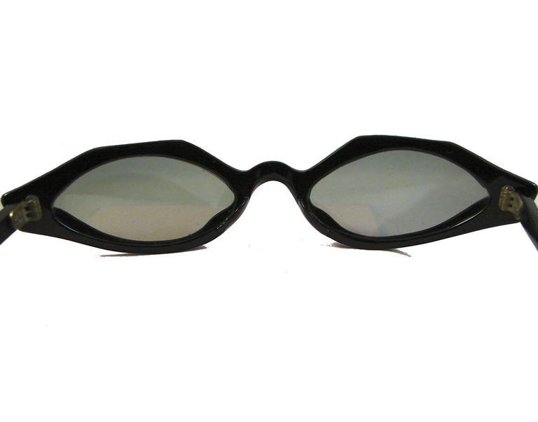 Paulette Guinet Black Resin Cat Eye Sunglasses Deadstock