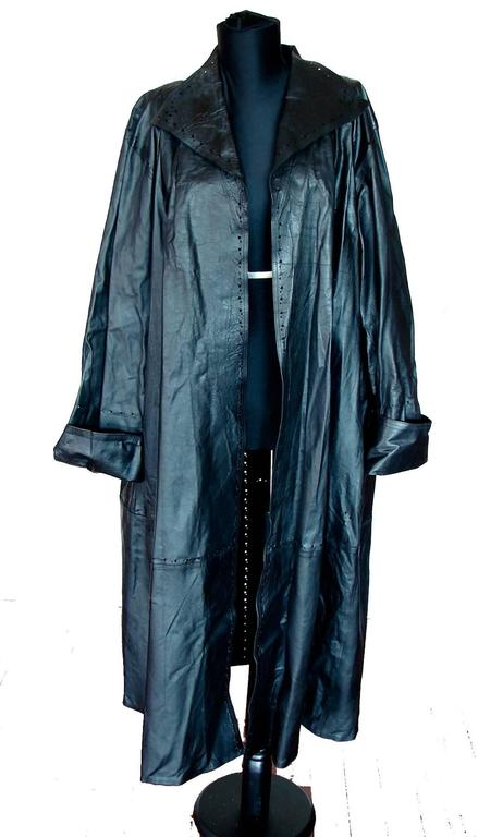 Jean Muir Black Lambskin Leather Trench Coat With